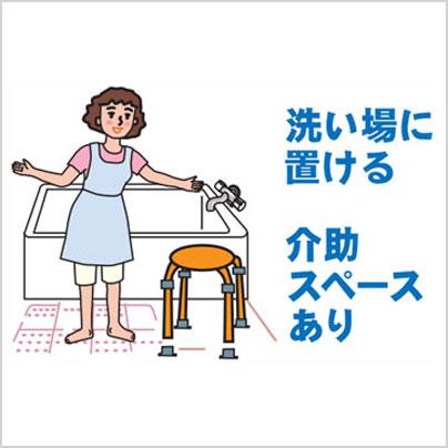洗い場に置けるし、介助スペースも確保しやすい大きさです