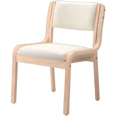 パルアームイスNA 11405-A 木製の肘無し介護椅子 シートは真っ白です。