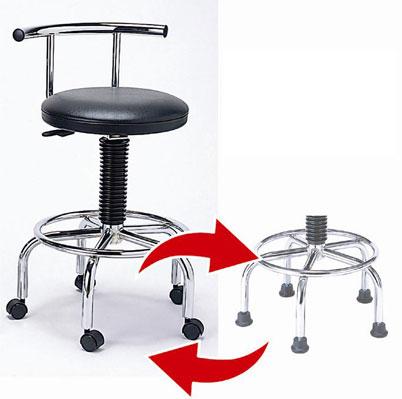 ラクラクチェアの足はキャスター付きと固定式に交換可能です。