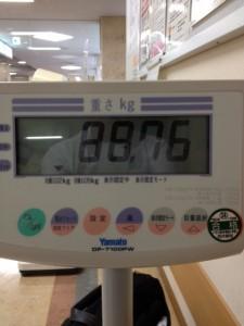 車いす用の体重計の操作パネル兼表示板が置いてあり、いま88.76と、表示しています