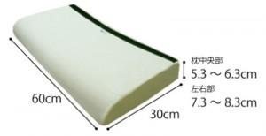 ジェルトロン セラピーピロー 枕のサイズ。横幅60cm、奥行30cm、高さは中央部で5.3~6.3cmで左右は7.3~8.3cm
