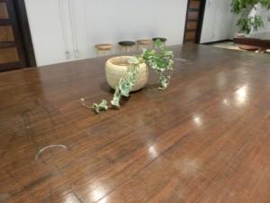 木目のテーブルのうえ小さな鉢