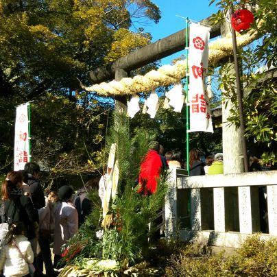 阿比太神社への初詣客が長い列