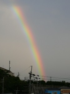 待兼山にかかる虹。その1