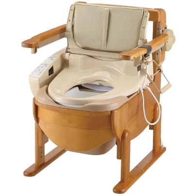 木製トイレ きらく 洗優 ひじ掛けはねあげ式 ウォシュレット付【新着商品】