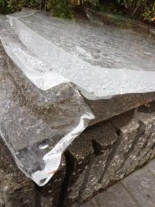 会社の前に張った氷を砕いて、コンクリートの上においています。最も厚いところで厚さは約6センチです