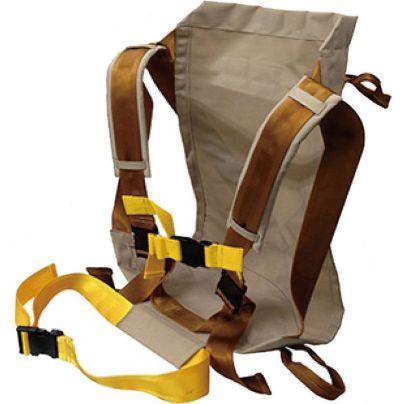 背負い帯。茶色い布に山歩きのリュックサックに似たベルトがついています。