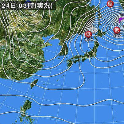 2018年1月24日03時の天気図