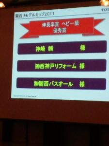 TOTO関西リモデルカップ伸長率賞ヘビー級で優秀賞をとった神崎(株)