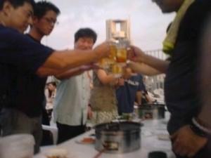 新阪急ビル屋上ビアガーデン野宴での懇親会