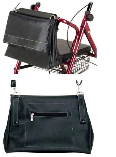 歩行車の前部にある収納バッグは、ショルダーバッグに変身
