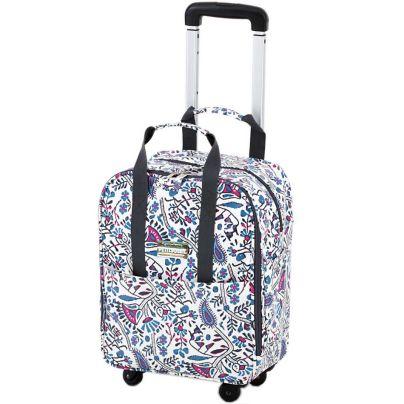 白地に曼荼羅模様のバッグに横押し要の取っ手がついています