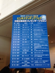青い縦長の板に黄色い文字でビジネスマッチングフェア2012 with 大阪大学と書いて、セミナーのスケジュールを書いています。