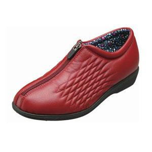 赤茶色の靴で左足用、甲の中央にファスナーが通っています。