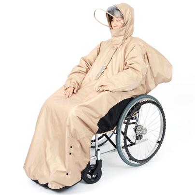 中綿入りあったか防寒RAKU暖レイン 車いす用レインコート