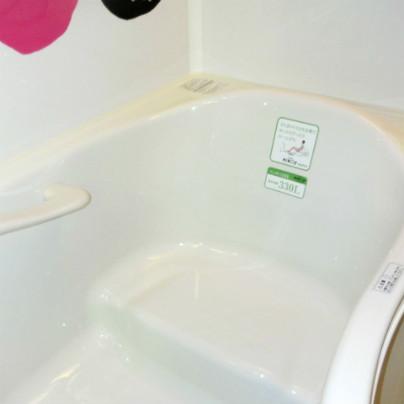 浴槽の短辺側が大写し、向かって奥手のほうに踏み段が見えます
