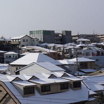 住宅街で家々の屋根は一面白い雪に覆われています