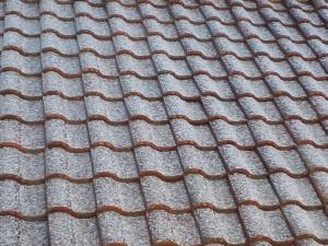 茶色い瓦の屋根にうっすらと雪が積もっている様子
