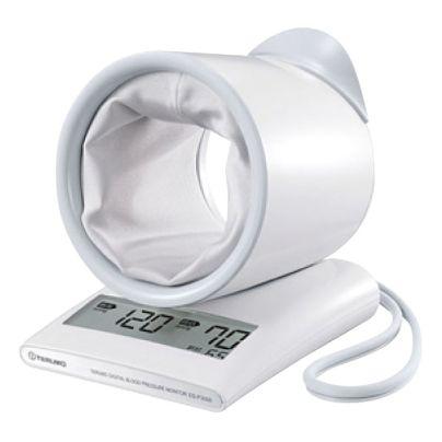 腕を通すまるい輪っかのった薄い灰色の血圧計が写っています。