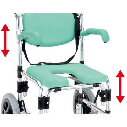 シャワーキャリーYG-70CRは、ひじ掛けと座面の高さを個別に変更できます