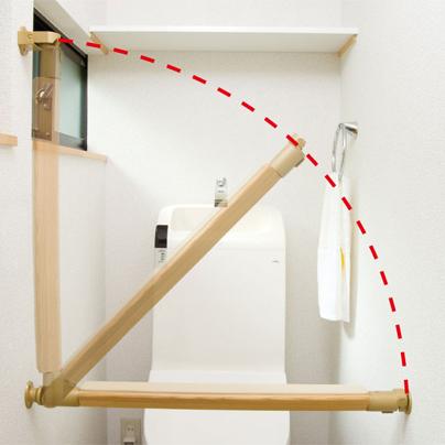 遮断機式ブラケット直角型N+トイレ肘置き手すり棒【新着商品】
