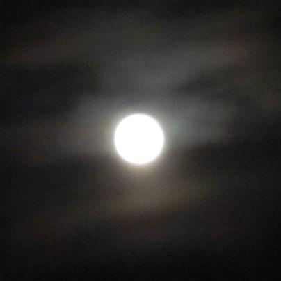漆黒の空に満月があかあかと輝いています