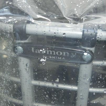 シルバーカーの正面をアップで。黒いプラスチックの横長のプレートにはシルバー色で、Harmony SHIMA と書いてあります