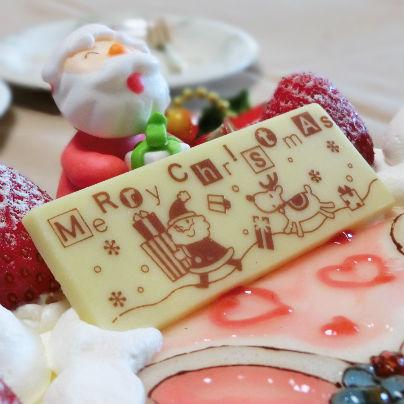 サンタクロースがメリークリスマスと書いたパネルを持っているのです。