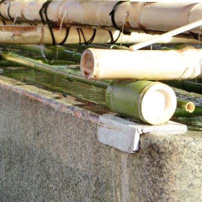 椅子の水槽に竹製の枠