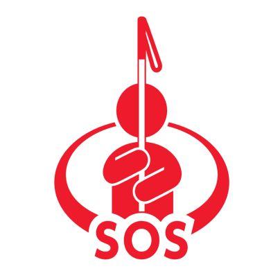 白い杖をもったひとがSOSのロゴのうえに描かれています。