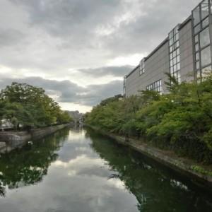 画面の右側には京都近代美術館の建物。すぐ左には石垣があって疎水には緑を映す水を蓄えています。疎水の奥には橋が見えます。