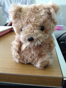 机のうえにしゃべる犬のぬいぐるみを置いています