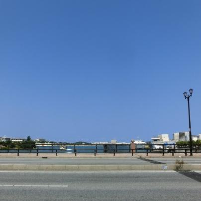 アスファルトの橋、右側に濃褐色の該当が一本、橋の上は遠方の街景色が少し、その上は一面に青空です。