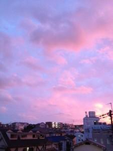 小高い待兼山の上空は赤紫色です。こんな色、見たこと無いかもしれない。