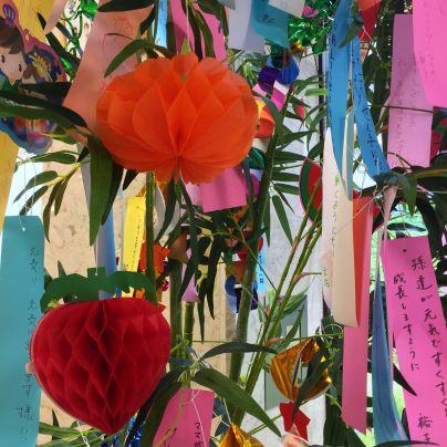 朱色や赤色の七夕飾りが笹に吊されています