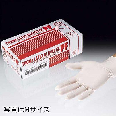 テッィシュペーパーと同じ大きさの紙箱には赤い文字でトーマ・ラテックス・ゴム手袋EX PFと書いてあり、その右にはトーマ・ラテックス・ゴム手袋EX PFをはめた手が写っています。