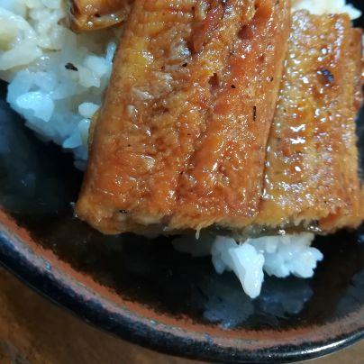 黒いどんぶりの中に白いご飯その上の鰻がアップで映っています